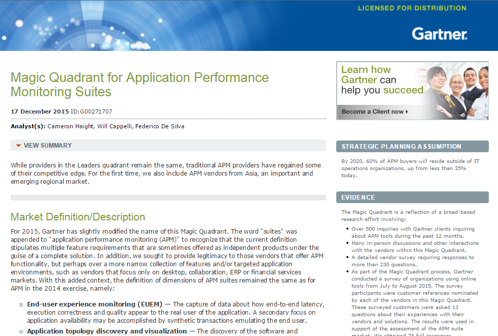 Gartner's Magic Quadrant for Application Performance Monitoring Suites